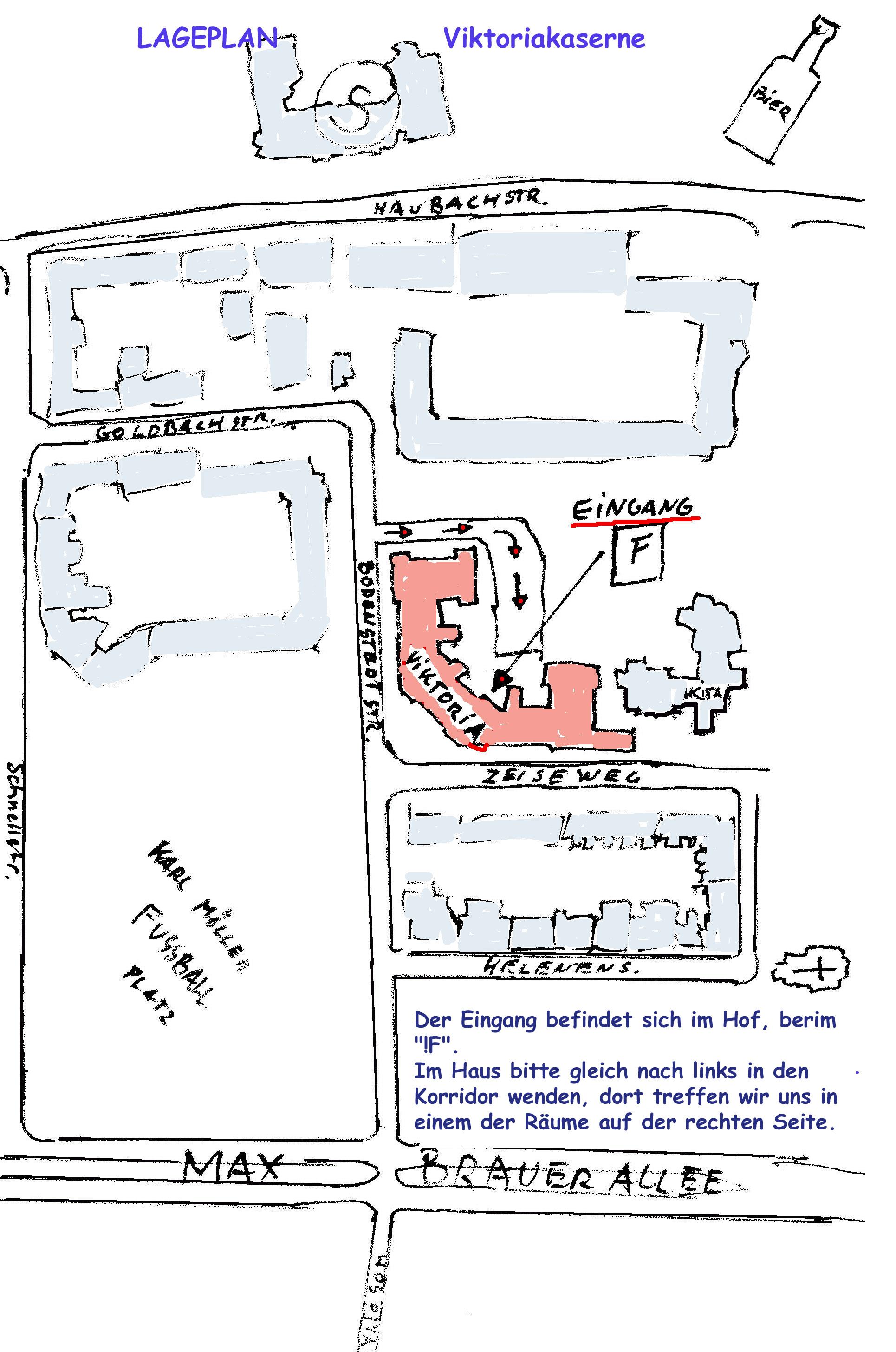 Lageplan der Viktoria-Kaserne